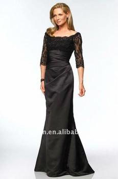 Long Sleeve Black Lace Evening Dress