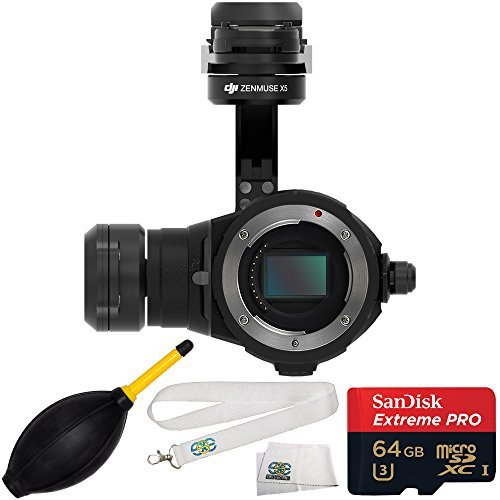 DJI Zenmuse X5 Camera & 3-Axis Gimbal 64GB Bundle 4PC Accessory Kit. Includes Sandisk 64GB Extreme PRO microSDHC Memory Card (SDSDQXP-064G-G46A) + Dust Blower + SSE Transmitter Lanyard + MORE