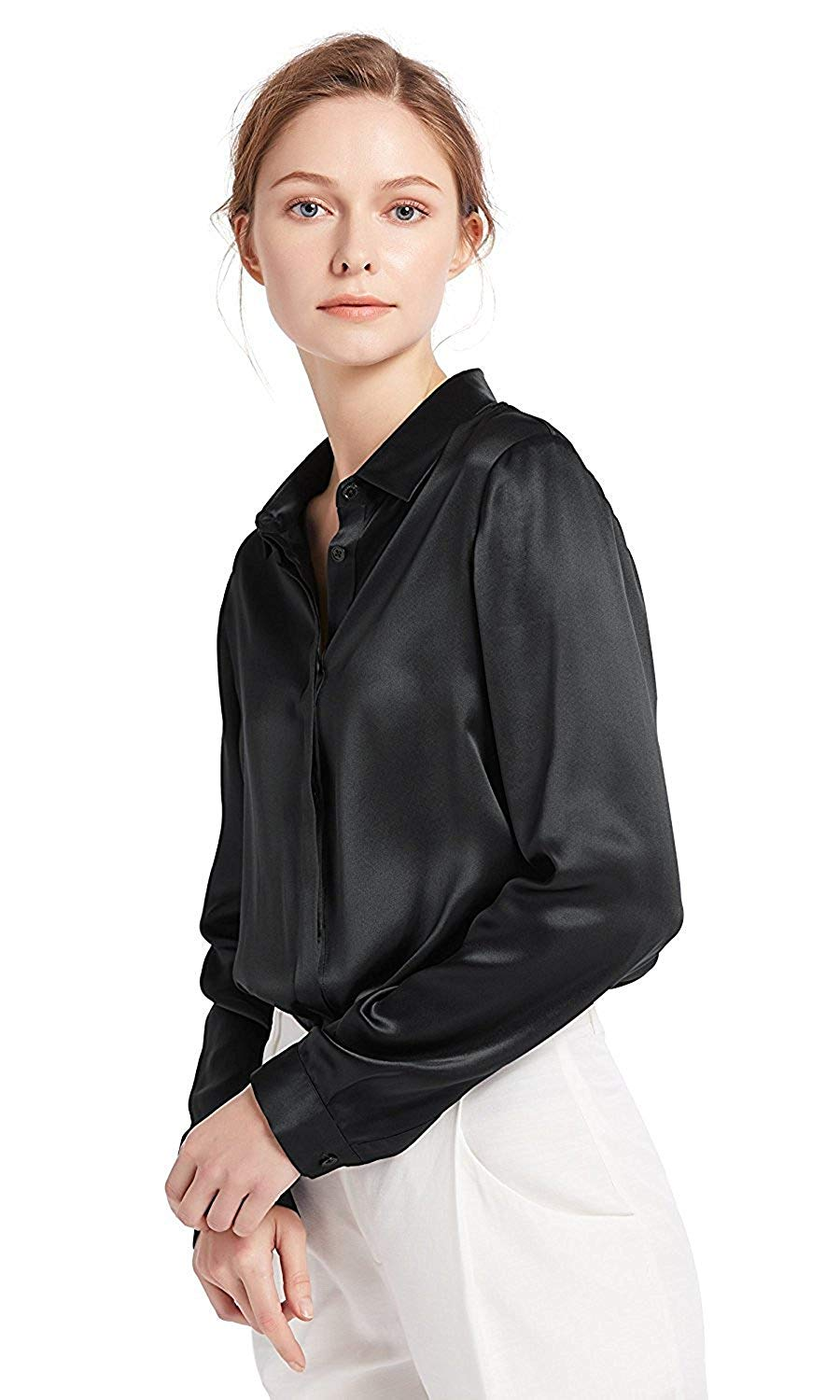 daaed634e6 Get Quotations · LilySilk Women s 100 Silk Blouse Natural Long Sleeve Lady  Shirt 22 Momme Pure Charmeuse Silk M