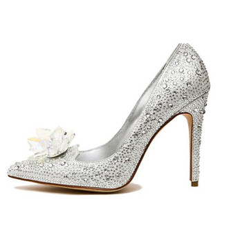 China Custom made designer Silver High heel wedding shoes with diamond  crystal 72c8eb7cd06c