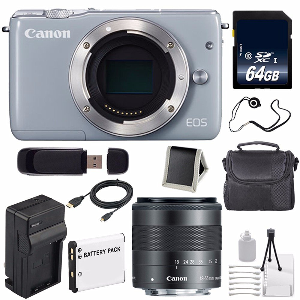 Canon EOS M10 Mirrorless Digital Camera Body Only (Grey) (International Model No Warranty) + 64GB SDXC Class 10 Memory Card 6AVE Bundle 57