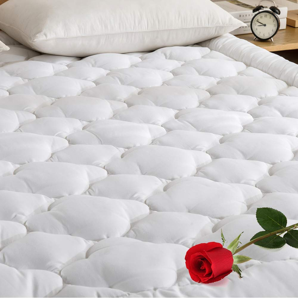 YOUMAKO Quilted Fitted Mattress Pad Cover Pillowtop Overfilled Cooling 8-21 I...