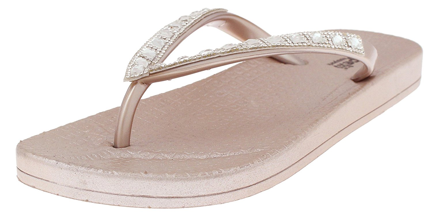 5f6ba327a699 Capelli New York Opaque Jelly Thong with Rhinestone Trim Ladies Flip Flop