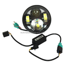 "Harley 5-3/4"" 5.75 Inch Motorcycle H4 H13 High/low LED Headlight Projector Headlamp with Halo Angel Eye Replace HID Halogen"
