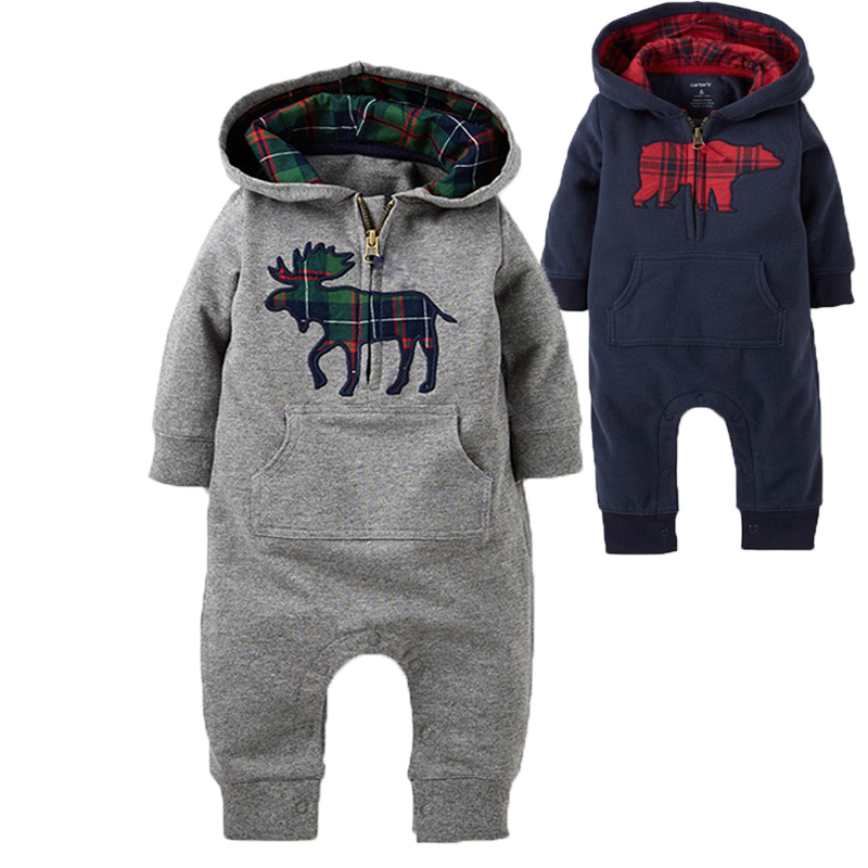 Baby Rompers 2016 Fashion Brand Ropa De Bebe Long Sleeve Hooded Cotton Baby Costume Spring Autumn Romper Newborn Baby Clothes
