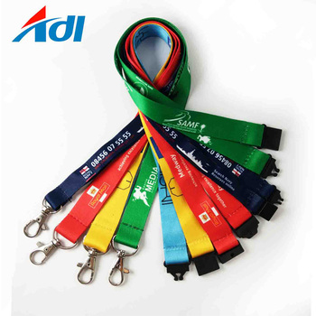 custom printed yellow purchase neck strap lanyard for id card