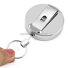 Custom Engraved Metal retractable key chain Belt Clip - ID Security Card