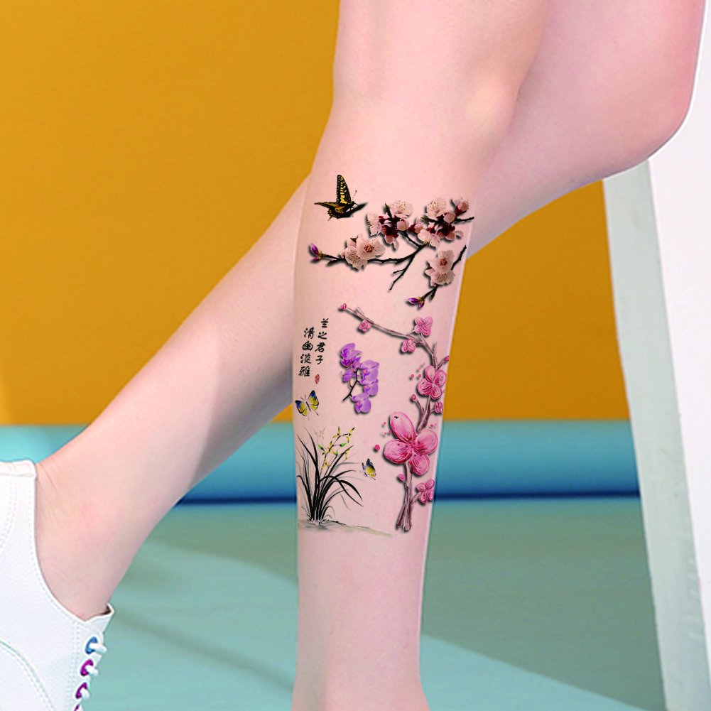 9e311993964ba Get Quotations · TAFLY Orchid and Butterfly Sexy 3D Waterproof Tattoos Fake  Body Transfer Temporary Tattoos for Women 5