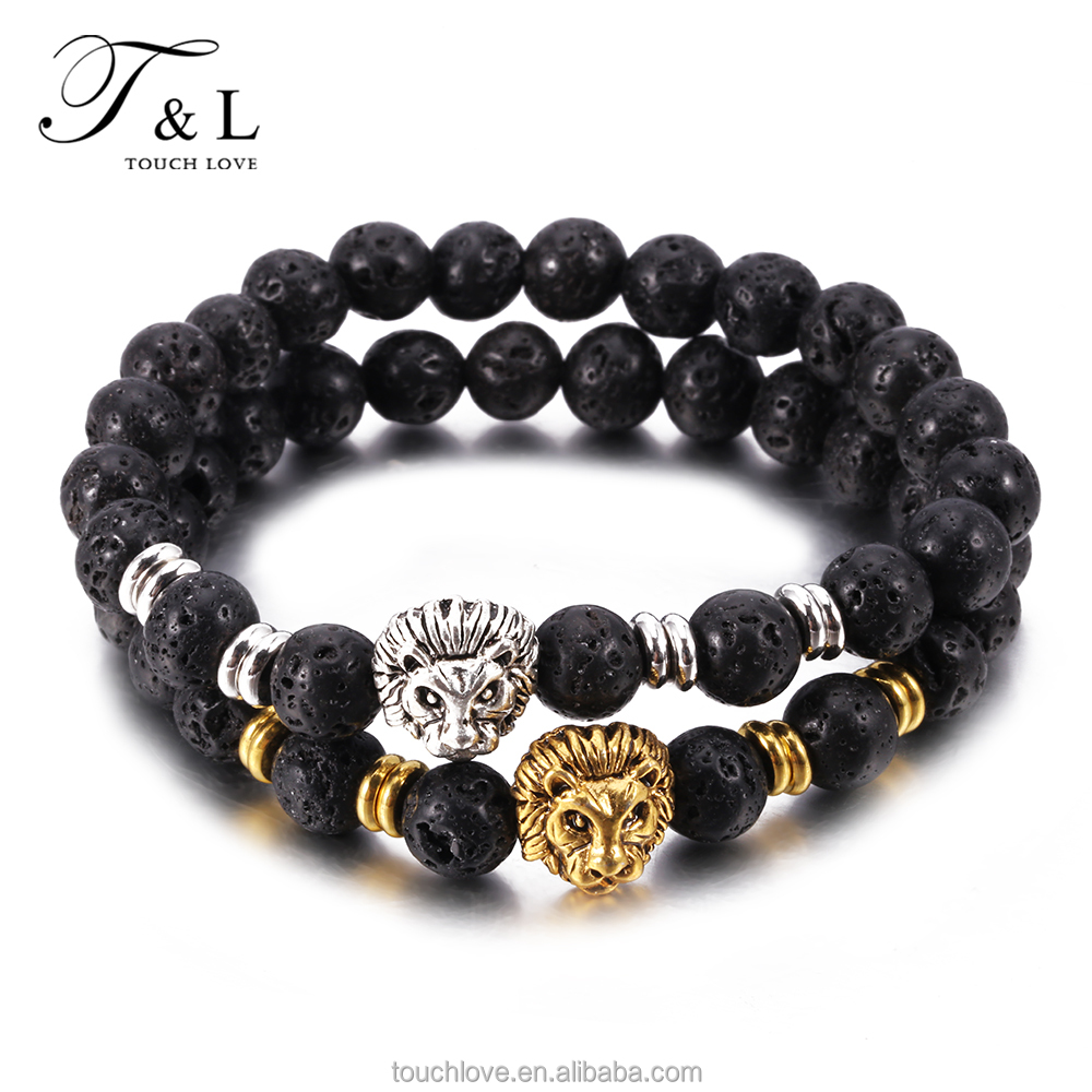 Fashion 316l Stainless Steel Bracelet , Beaded Bracelet Men, 18K Gold and Silver Plated Lion Head Bracelet For Men Jewelry