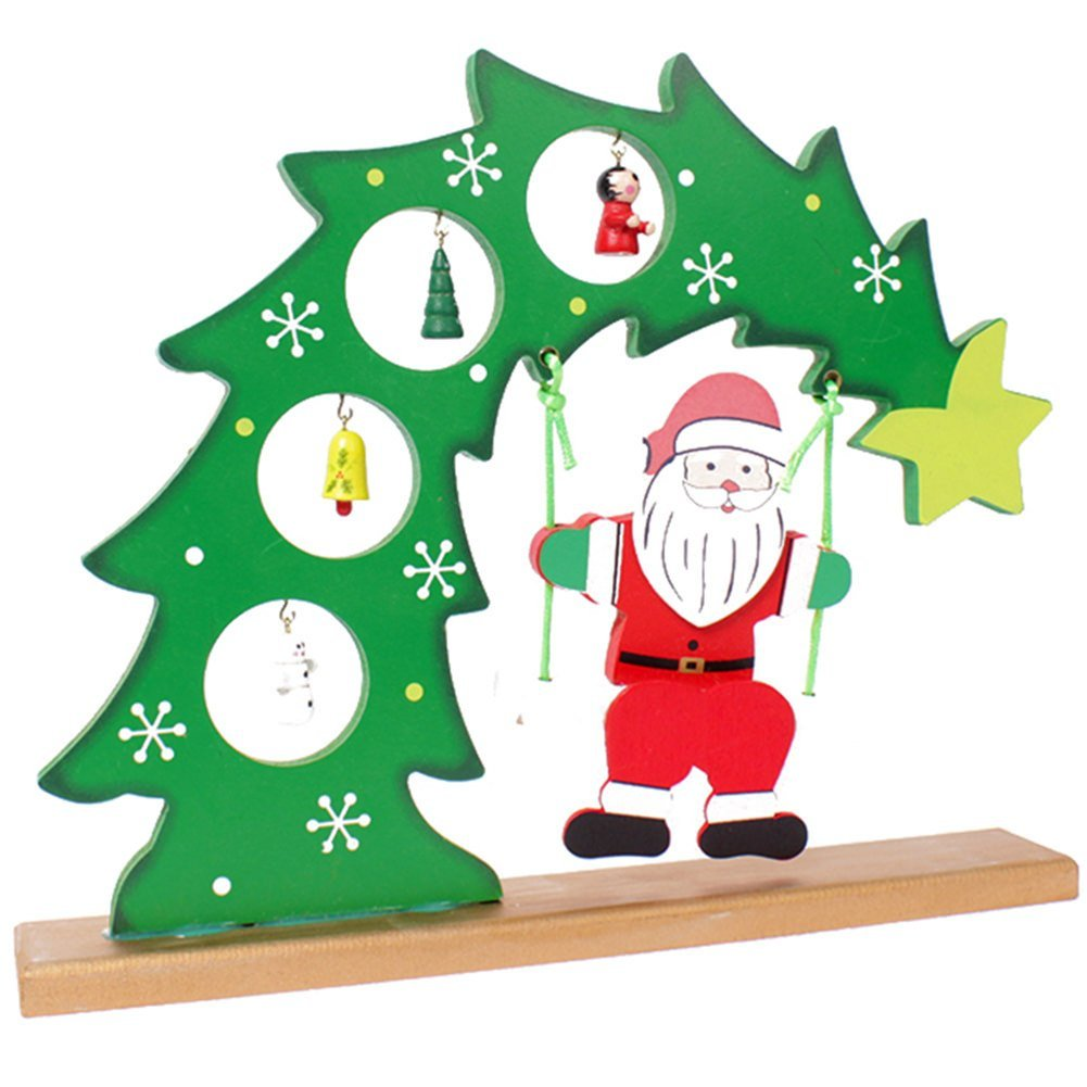 Remeehi New Year Lovely Cartoon Santa Claus Desktop Decorations Wooden Merry Christmas Tree Ornaments Decoration Christmas Gifts XMAS Table Desk Decor for home