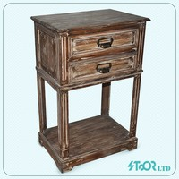 Antique free stand dark brown wood table wood 2 drawer