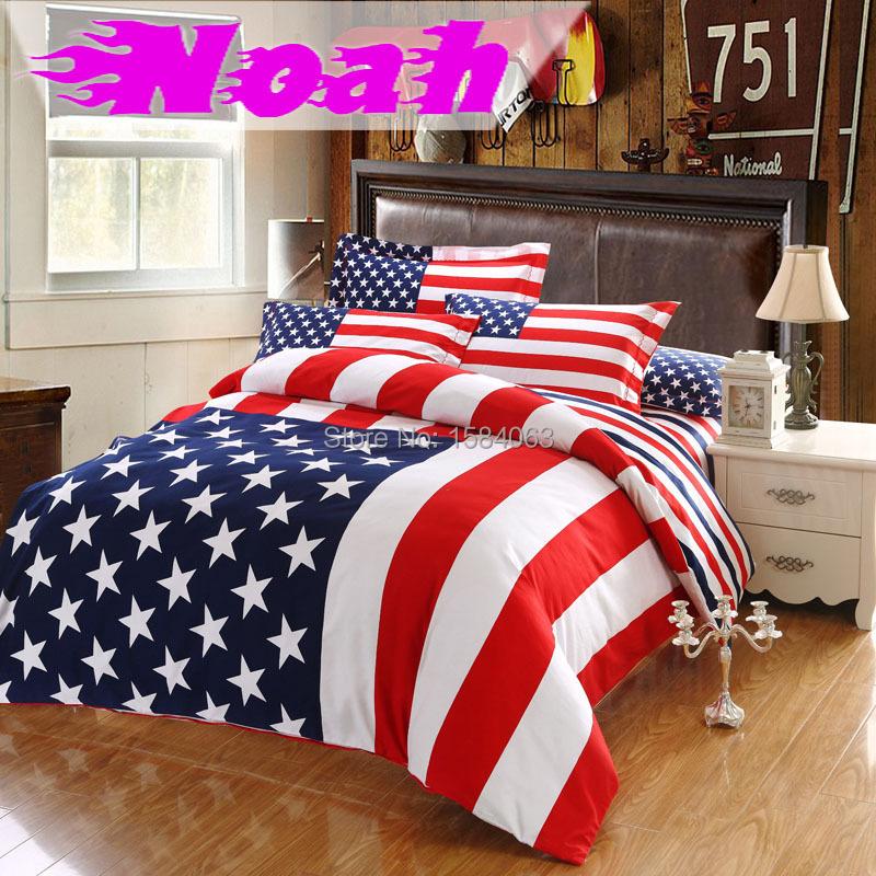 usa flag bedding set king size american pie cotton bed sheets bedspread duvet cover pillow case. Black Bedroom Furniture Sets. Home Design Ideas