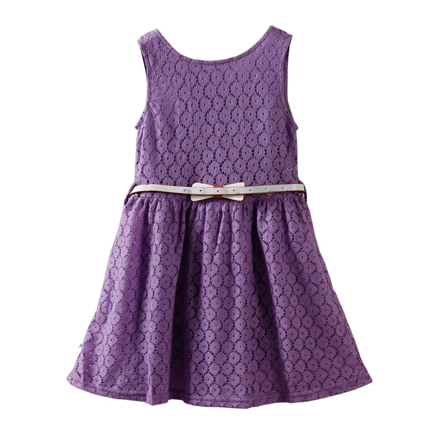 91994ffc53ee Get Quotations · Mud Kingdom Girls' Solid Color Lace Dress with Belt  Sundress