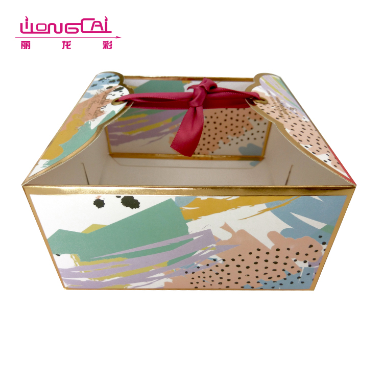 Luxury hot gold stamp printing square birthday cake box packaging with ribbon closure