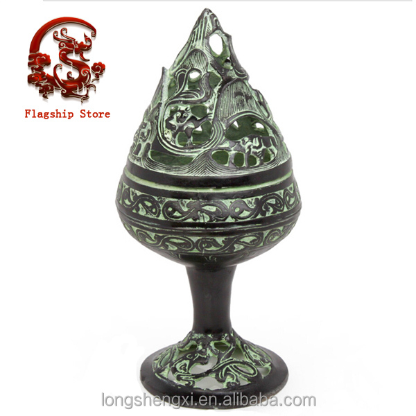 Ancient Study Used Delicate Decoration Bronze Incensory