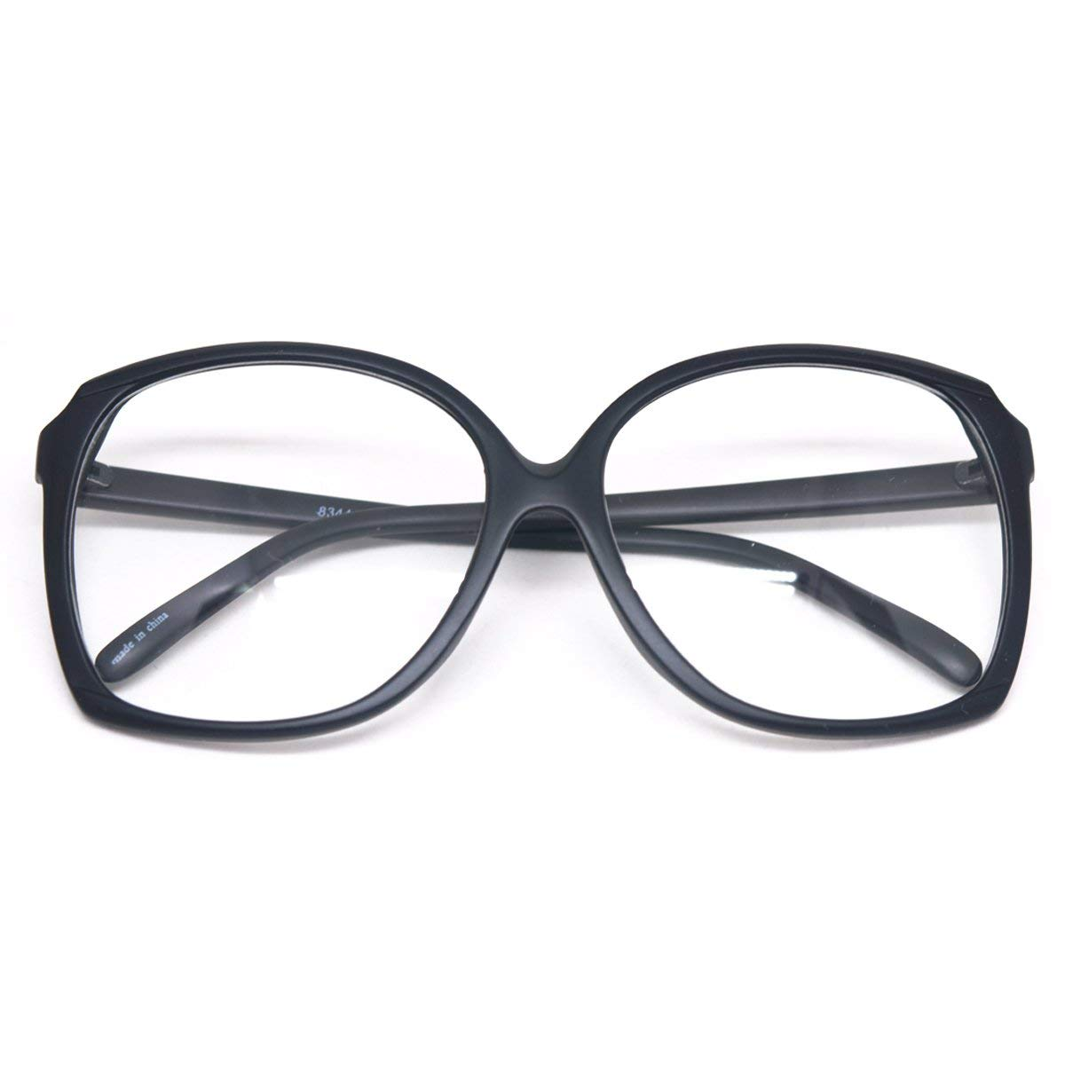e626b4350b96 Get Quotations · Oversized Square Horn Rimmed Eyeglasses Classic Vintage  Inspired Geek Clear Lens