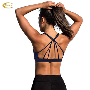 High quality Comfortable fit Padded Strappy Workout Clothes Sports Bra Activewear Yoga Tops for Women