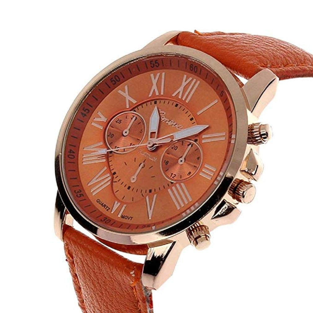 Womens Quartz Watches,Windoson Unique Analog Fashion Clearance Lady Watches Female watches Casual Wrist Watches for Women,Round Dial Case Comfortable Faux Leather (Orange)