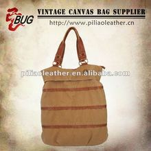 2012 Vintage Design Cotton Canvas Handbag/Backpack/Travel Bag With PU Leather For Men/Women