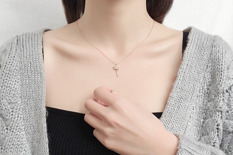 New Designs Rose Gold Key Pendant Necklace For Women Accessories 925 Sterling Silver Chain