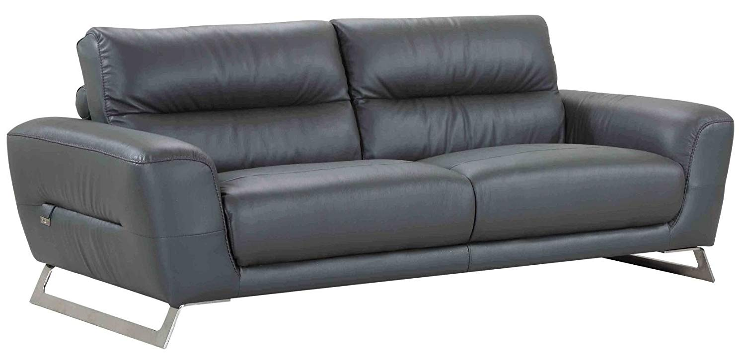 Blackjack Furniture 485-DARK_Gray-S Italian Leather Upholstered Sofa