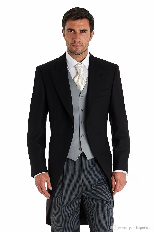 Recién llegado de negro hombres frac chaleco gris trajes
