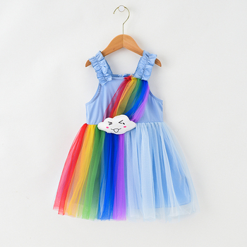 2019 new arrival rainbow cloud girls summer clothing kids ruffle suspenders fashion hot night cotton neon party dress