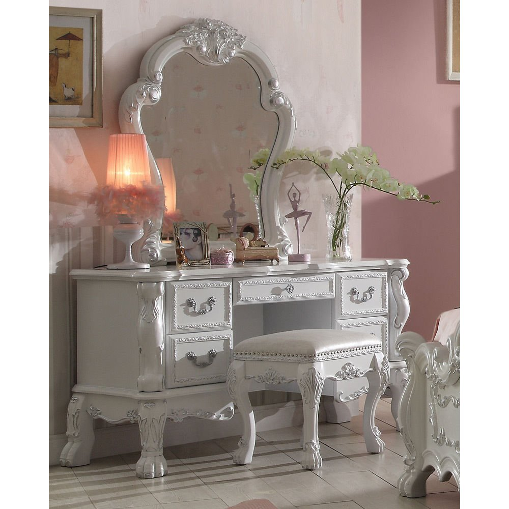 1PerfectChoice Dresden Bedroom Vanity Makeup Desk Mirror Bench Claw Decor Antique White Wood