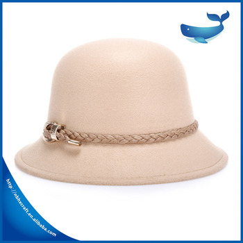 33f6e25ad9f China Manufacture Wholesale Factory Direct Cloche Hat Lady wool hat with  decorative string