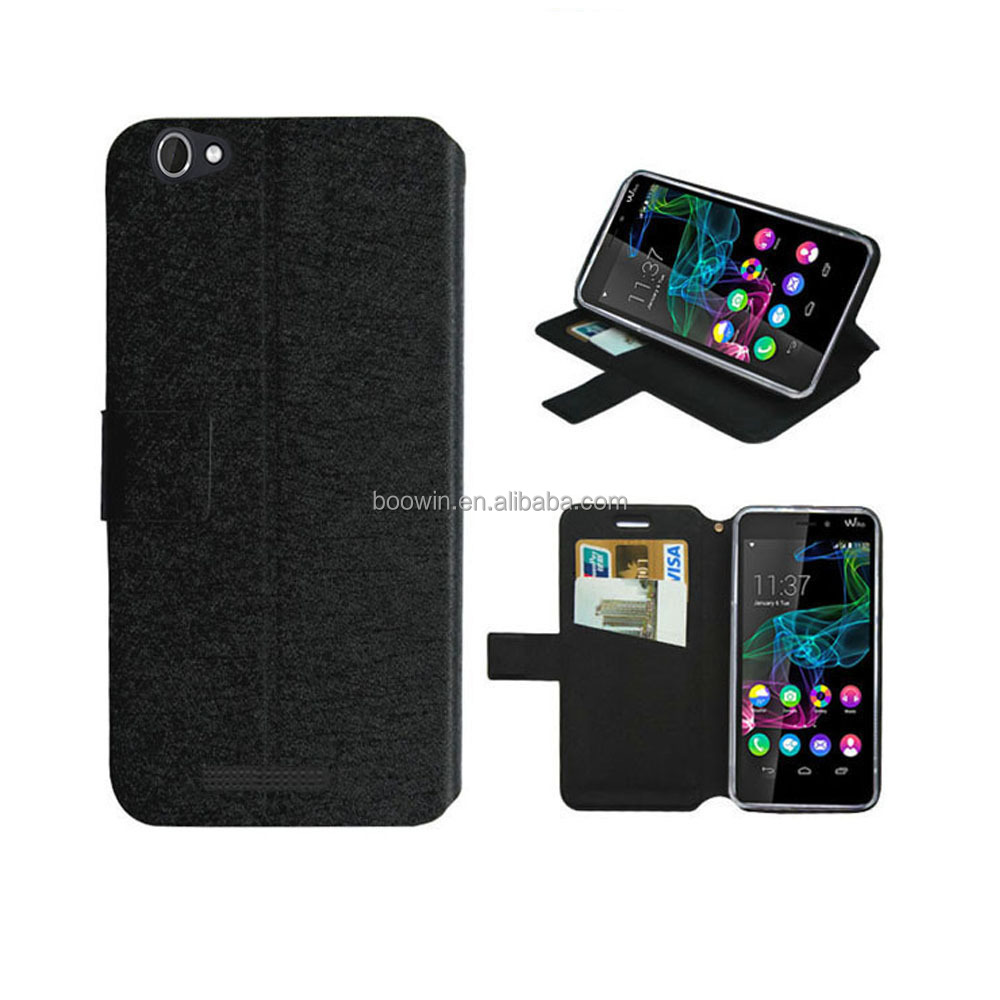for wiko ridge fab 4g case black silk leather case high quality with factory price