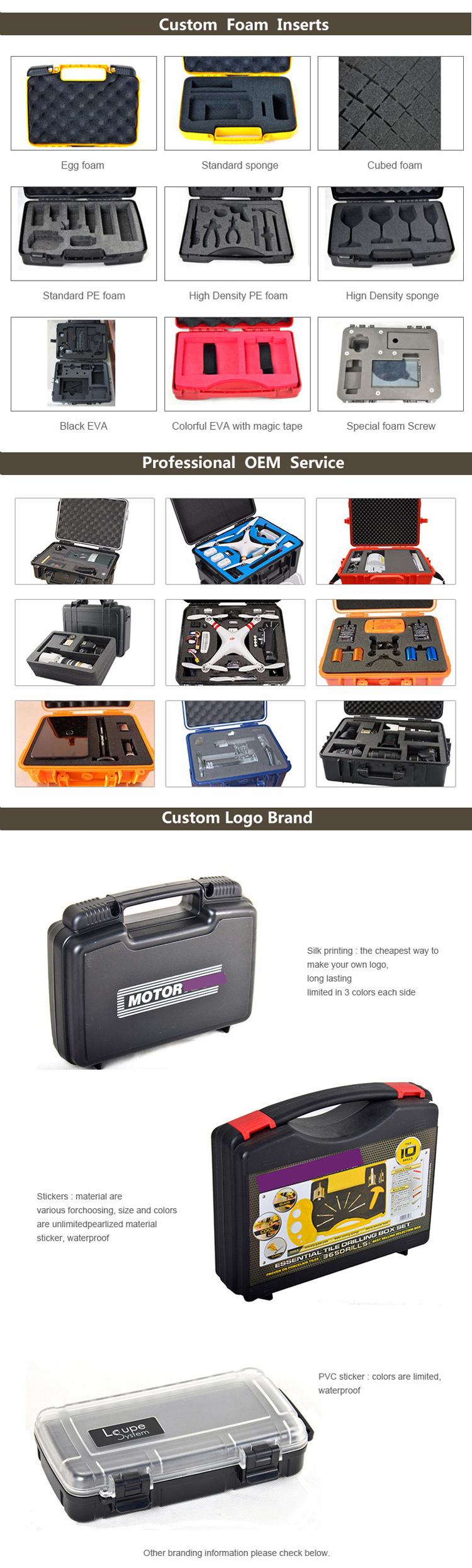 OEM factory waterproof shockproof resistant rugged tool case with foam insert