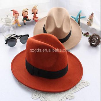 e0f9134cd31 Wholesale as movie Fashion Lady red Wide Brim 100% Wool Felt Fedora Floppy  bowknot orange
