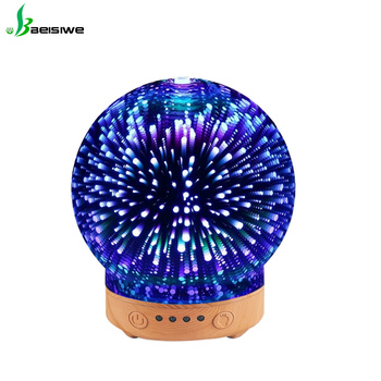 best warm wooden flexible 3d light glass electric oil aroma diffuser ultrasonic