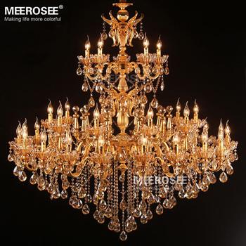 Large Royal Golden Crystal Chandelier Lamp Res Cristal Suspension Project Lighting Hotel Villa Luminaire Lights Md81286 L35