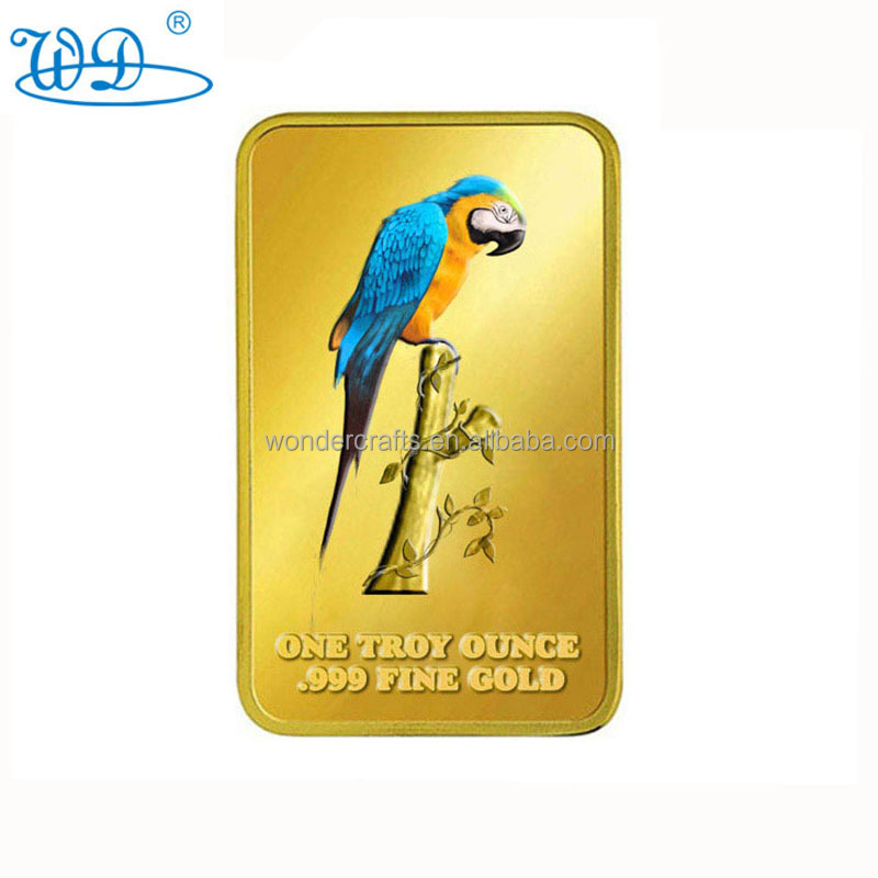 custom arts crafts debossed pad printing bird award one troy ounce pure solid gold bar bullion for collection