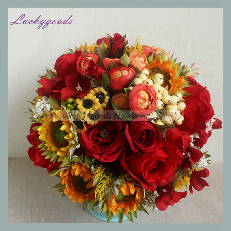 Lbt056 Elegant Shooting Studio Artificial Bouquet Artificial Rose Sunflower Flower Bouquet View Artificial Bouquet Luckygoods Product Details From Yiwu Luckygoods Handicraft Co Ltd On Alibaba Com