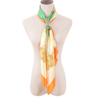 Customize wholesale luxury various patterns designer square silk satin head scarf