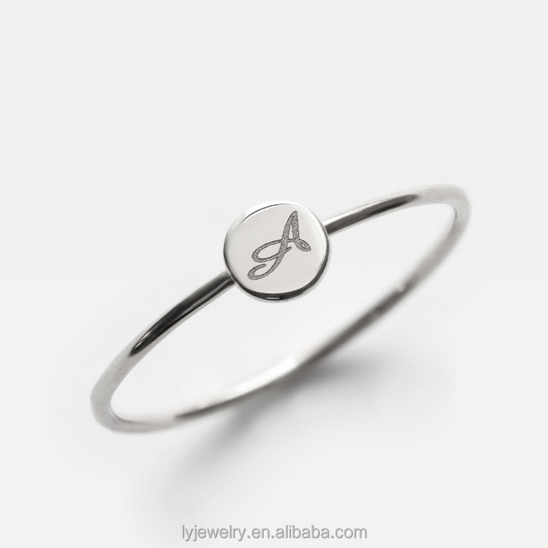 custom Italy Gold Ring Classic high polish pure silver Initial ring for men and women LYR0224