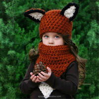 New style fox crochet hats with scarf on sales knitted hat and scarf