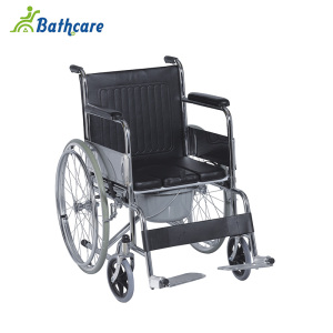 Steel Frame Comfortable Padded Seat Manual Commode Wheelchair For Disabled
