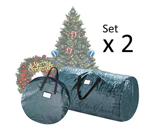 "Elf Stor Deluxe Green Christmas Tree Storage Bag & 30"" Inch Wreath Bag"