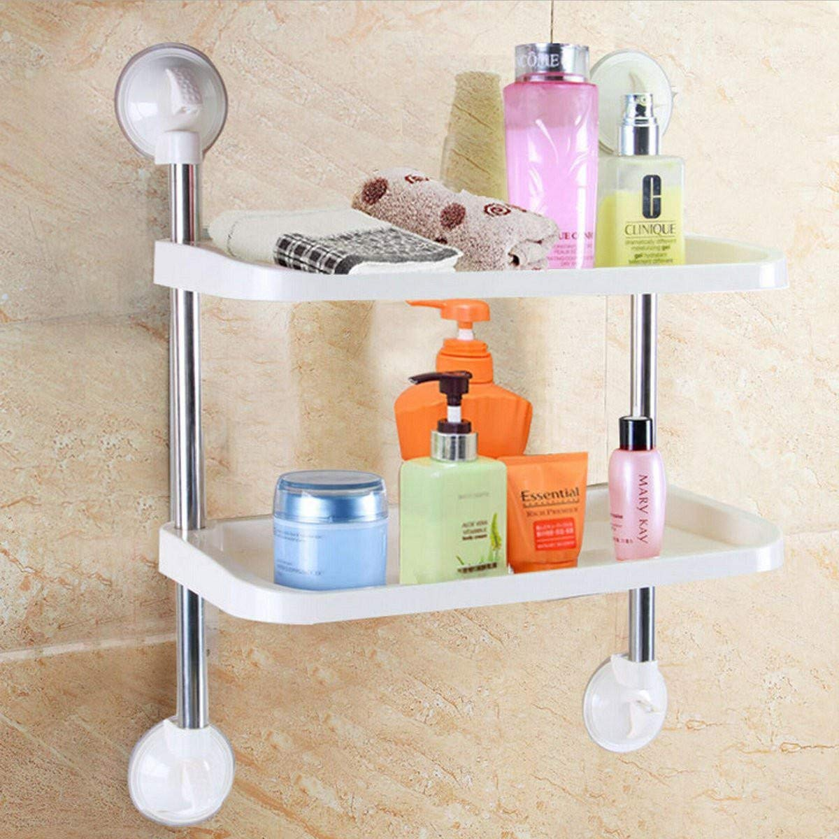 Bathroom Shelf Suction Cup - Suction Cup Plastic Shelf - Double-layer Bathroom Storage Hanger Rack Kitchen Strong Chuck Suction Cup Commodity Shelf Holder - Pink (Bathroom Suction Cup Hanger)