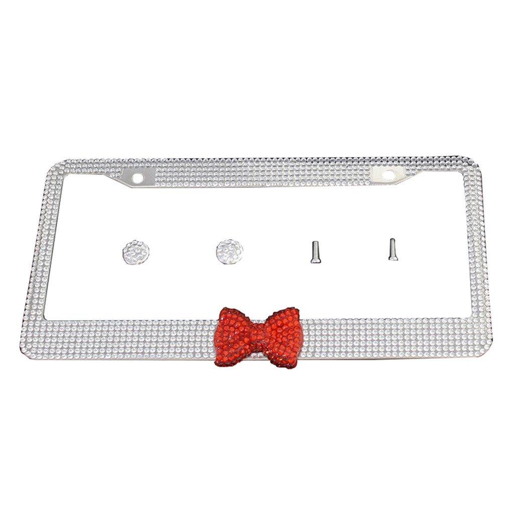 8c843f4b169 Get Quotations · Yucharmyi Handmade Rhinestone License Plate Frame Metal  Chrome Diamond Bling License Plate Frame White With Red
