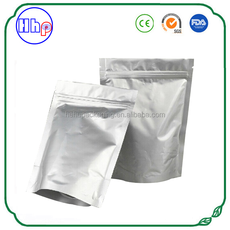 Food safe and moisture barrier zipper stand up pouches foil