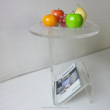 Round Top Lucite Acrylic coffee tea table with <span class=keywords><strong>magazine</strong></span> rack for living room
