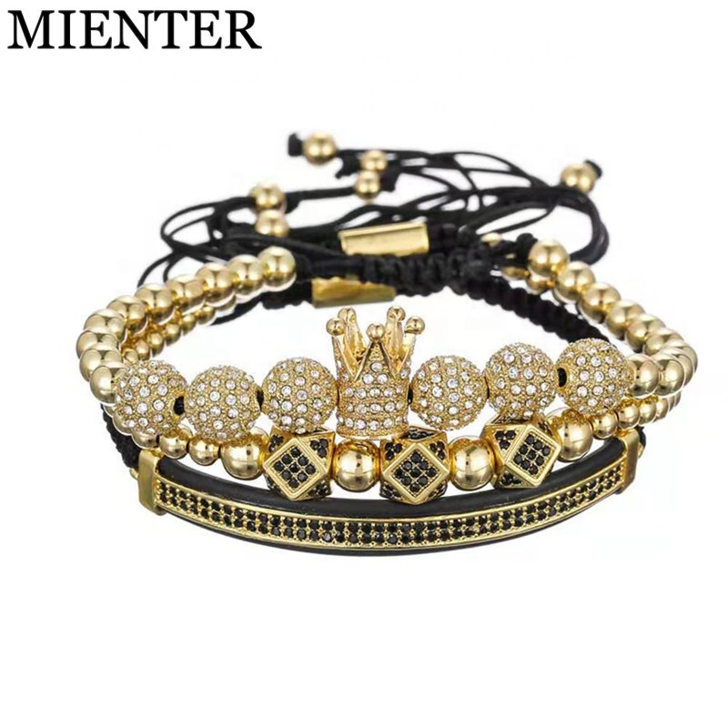 Wholesale Luxury 3pcs/set CZ Polygon Ball Charm Set Macrame Handmade Men Copper Bead Crown Bracelet фото