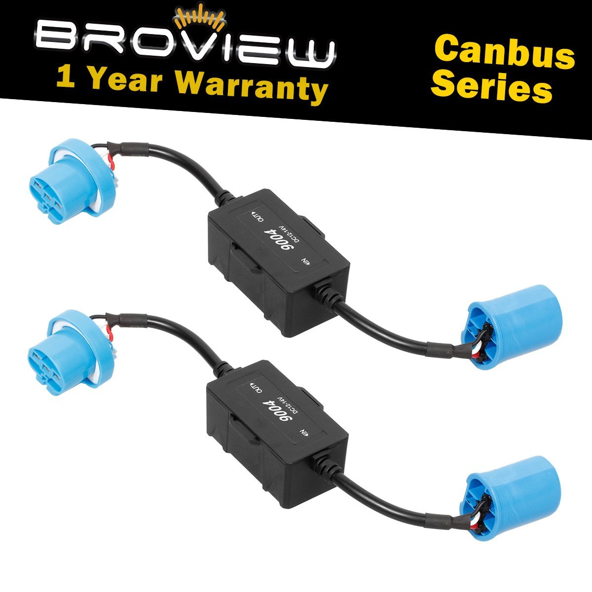 BROVIEW Canbus Series -For 9004 HB1 LED Headlights Conversion Kit Anti Flickering -Wire Haress Load Resistor Decorder Canbus Error Free Computer Warning Canceller(2pcs/1 Pair)