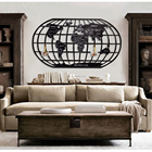 Home and office globe map decoration wall Hanging metal scratch map