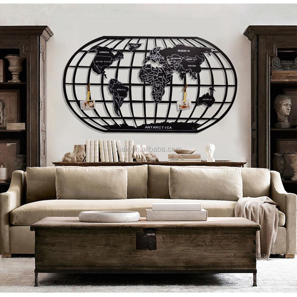 heim und b ro globe karte dekoration wand h ngen metall. Black Bedroom Furniture Sets. Home Design Ideas