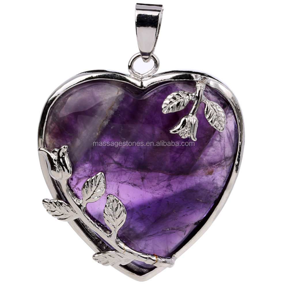 wholesale jewelry ablaze inch heart pendant purple amethyst sterling crystal necklace products silver necklaces